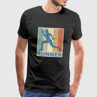 Retro Vintage Style Sprinter Jogging Running Workout - Men's Premium T-Shirt