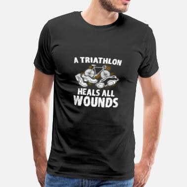 Funny Swimming Triathlon Sport Triathlete Gift · heals everything - Men's Premium T-Shirt