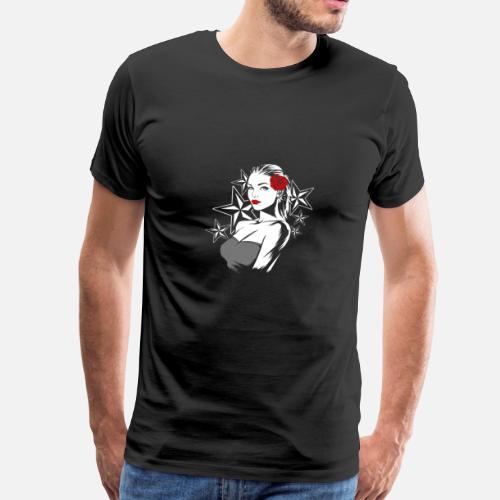 Rockabilly Hochzeit Braut Geschenk Männer Premium T Shirt