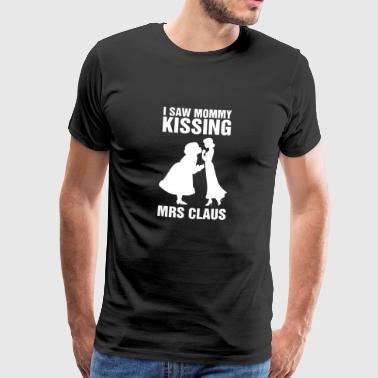 I Saw Mommy Kissing Mrs Claus Bisexual Xmas Pride - Mannen Premium T-shirt