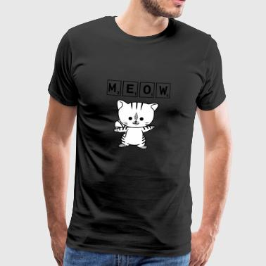 Scrabble Cat Meow - Funny Nerd Cat Scrabble - Mannen Premium T-shirt