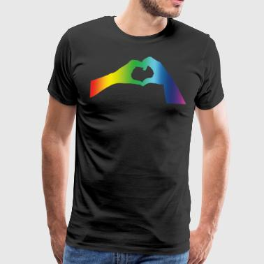 Pride Gay Lesbian Hands Heart Hands Hearts Love - Men's Premium T-Shirt