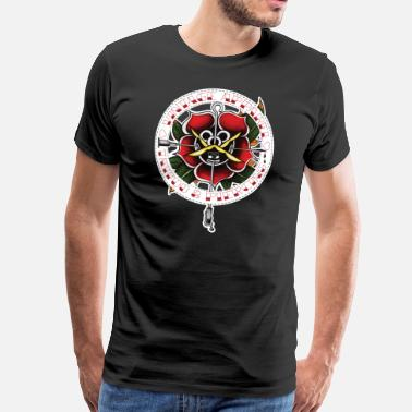 Vintage Tattoo Rose - Männer Premium T-Shirt
