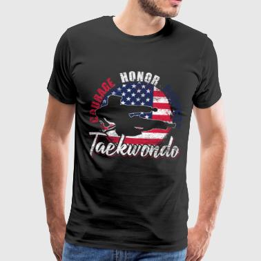 Taekwondo USA Flag America Fighter - Mannen Premium T-shirt