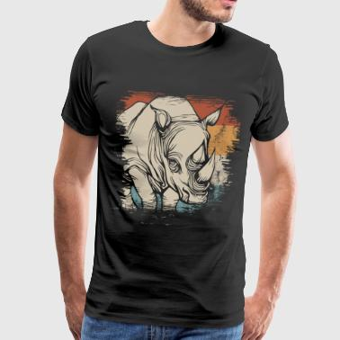 Rhino Animal Ivory Africa Earth Day Zoo - Camiseta premium hombre