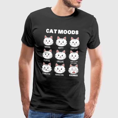 Emoticon Cartoon Mood di Cat Cat Face Mood - Maglietta Premium da uomo