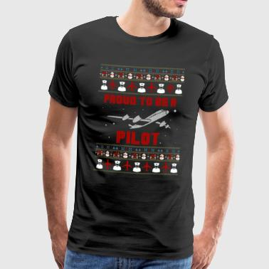 Proud Pilot: Christmas with plane and snow - Men's Premium T-Shirt