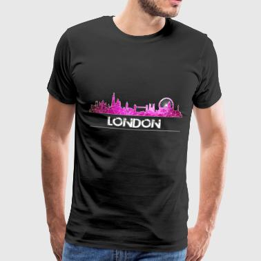 London-skyline London skyline in pink - Men's Premium T-Shirt