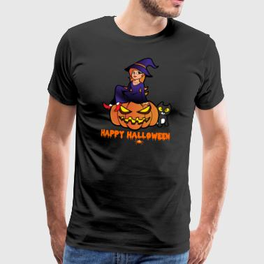 Halloween Witch Cat Pumpkin Monster Zombie Horror - Maglietta Premium da uomo