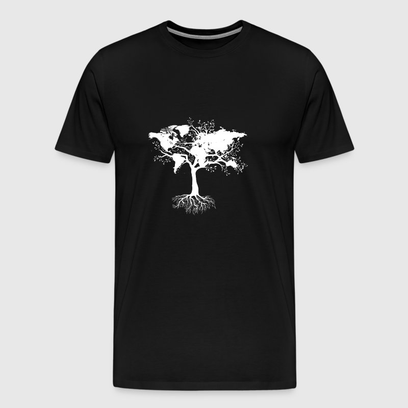 Tree with world map - Men's Premium T-Shirt