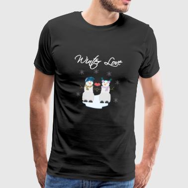 Winter Love Snowman - Premium-T-shirt herr