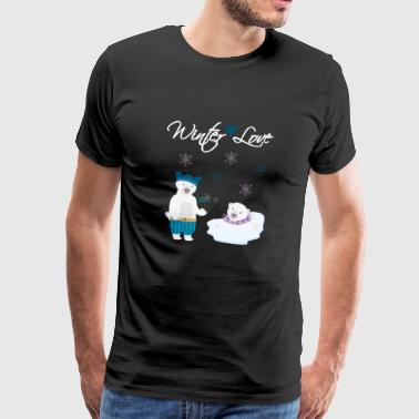 Winter Love Polar Bears - Premium-T-shirt herr