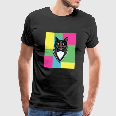 Cat in tuxedo with bow tie colorful tux - Men's Premium T-Shirt