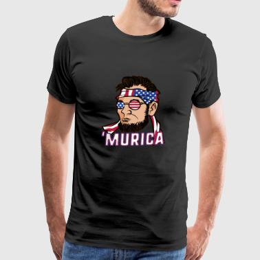 Murica Abe Lincoln's July 4th Flag - Men's Premium T-Shirt