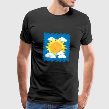 Child drawing drawing sun clouds sky - Men's Premium T-Shirt