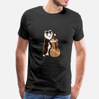 Dixieland Jazz Border Collie dog plays bass - Men's Premium T-Shirt