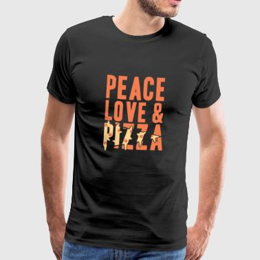 Peace Love y Pizza Gift Christmas - Camiseta premium hombre