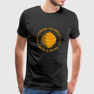 Imker Think global bee local Geschenk - Männer Premium T-Shirt
