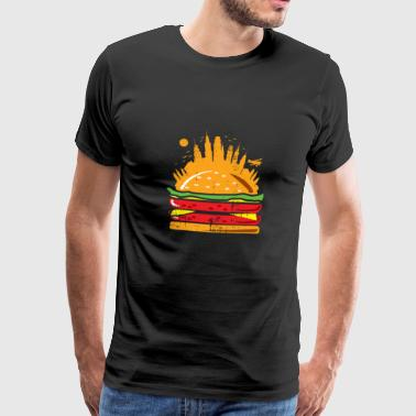 Burger skyline city gift kids - Men's Premium T-Shirt