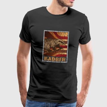 Badger Retro Badger poster distressed look - Men's Premium T-Shirt