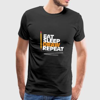 Eat Eat Sleep Draw Repeat Gift Christmas - Men's Premium T-Shirt
