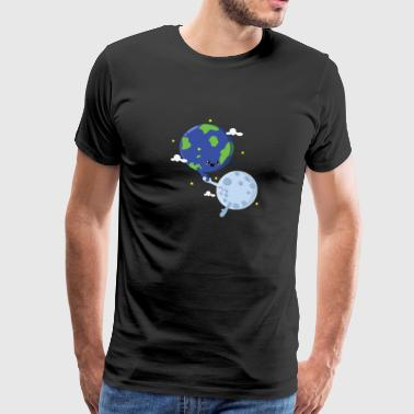 Geek Couples Couple In Love Planet Astronomy Earth Moon Love - Men's Premium T-Shirt