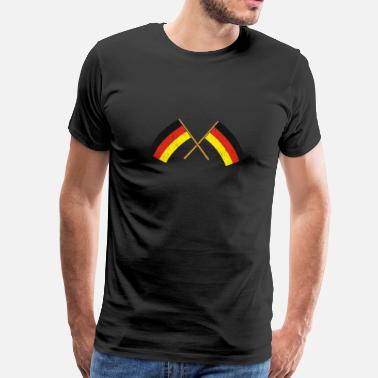 Germany Berlin two crossed german flags flag german - Men's Premium T-Shirt