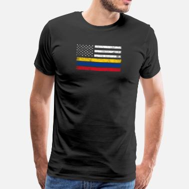 Colombia Colombian American Flag - USA Colombia Shirt - Men's Premium T-Shirt