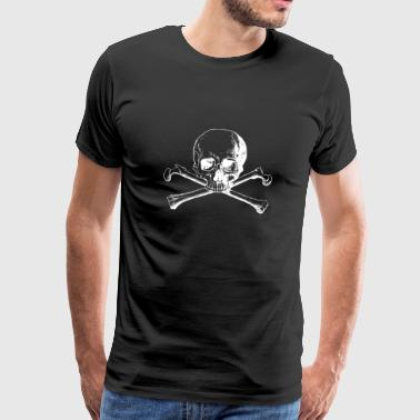 Skull and Bones Cross - Premium T-skjorte for menn