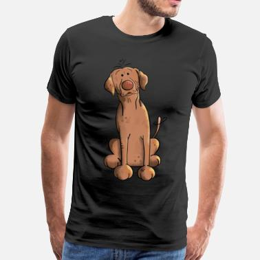 Caricature Brown Labrador Dog - Men's Premium T-Shirt