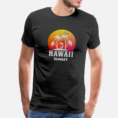 Palm Tree Hawaii / Sunset / Palm trees / Gift - Men's Premium T-Shirt