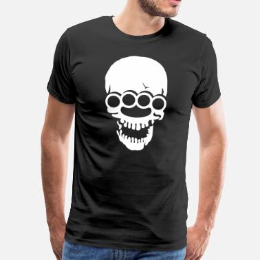 Knuckle Skull with brass knuckles  - Men's Premium T-Shirt