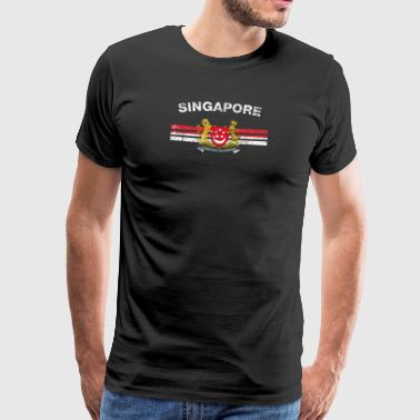 Singaporean Flag Shirt - Singaporean Emblem & Sing - Men's Premium T-Shirt
