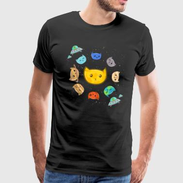 The Solar System - Spaceship Satellite Cat - Men's Premium T-Shirt