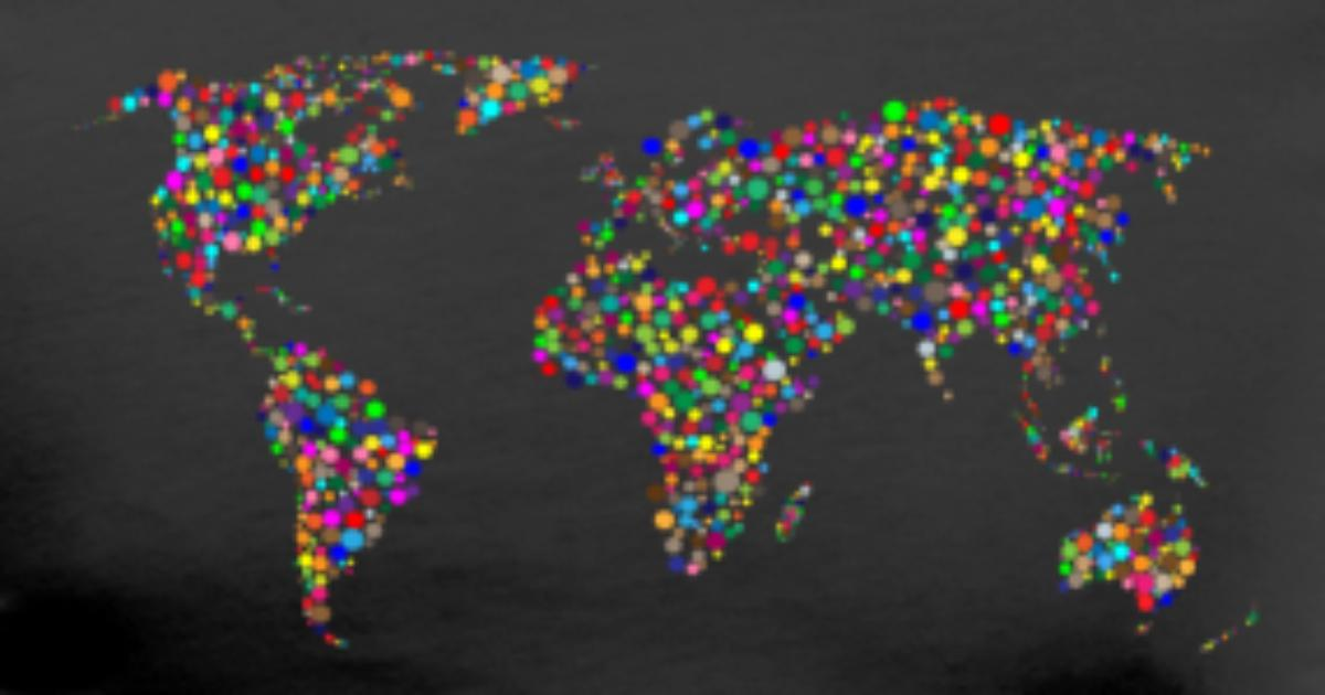 Rainbow world map made up of dots by herzog shirts spreadshirt gumiabroncs Image collections
