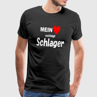 My heart beats Schlager music heartbeat - Men's Premium T-Shirt
