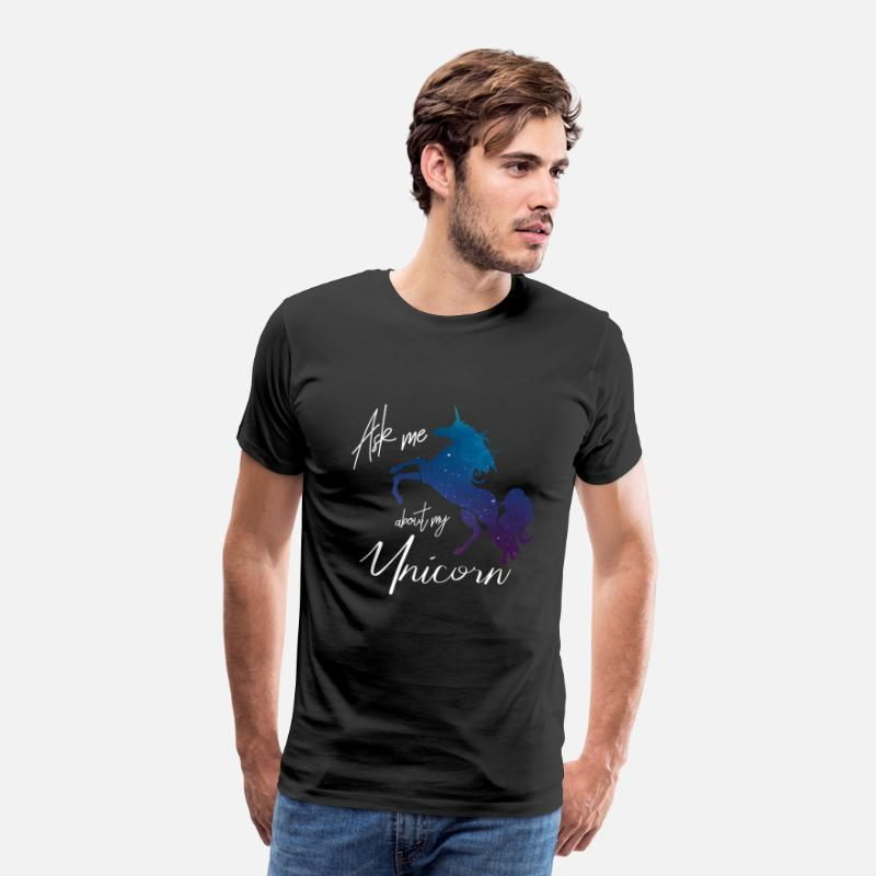 Birthday T-Shirts - Ask me about my unicorn - Men's Premium T-Shirt black