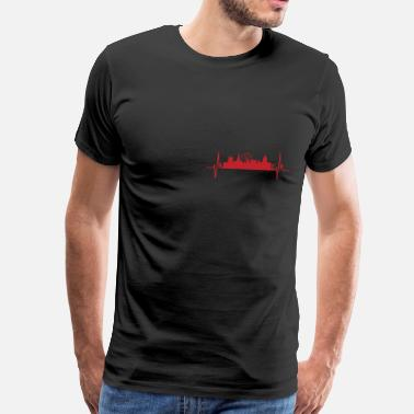 Nottinghamshire My heart beats like Nottingham - Men's Premium T-Shirt