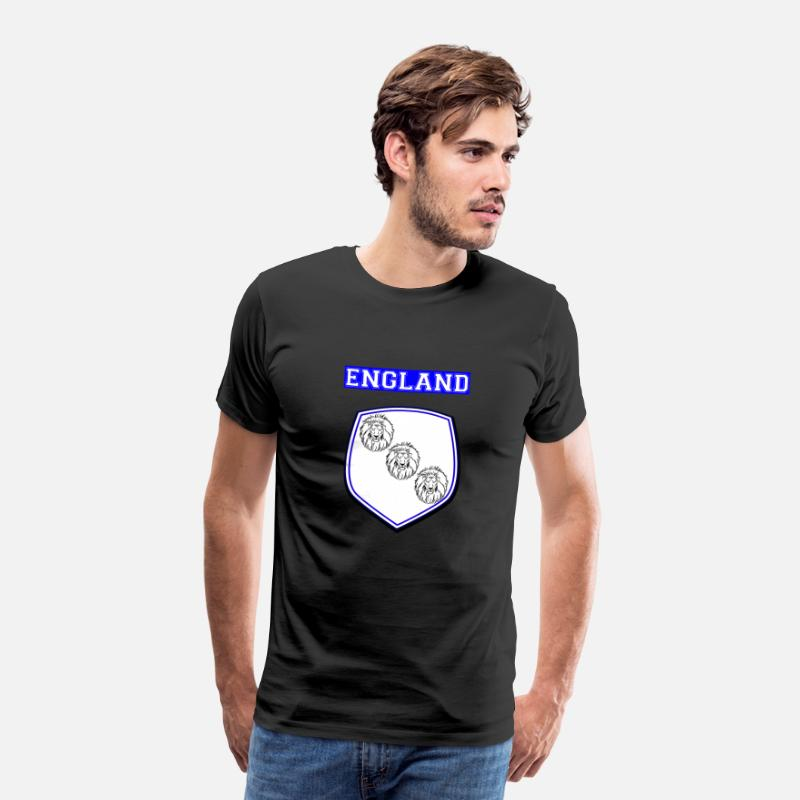 National Team T-Shirts - England shield 2018 crest three lion football World Cup - Men's Premium T-Shirt black
