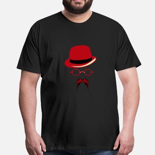 chapeau lunette ronde hispter moustache 2704 b T-shirt premium Homme    Spreadshirt 540147eb554b