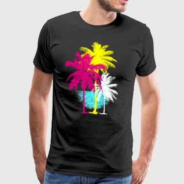 Palm trees Florida Miami Retro Caribbean sun Hawaii ur - Men's Premium T-Shirt