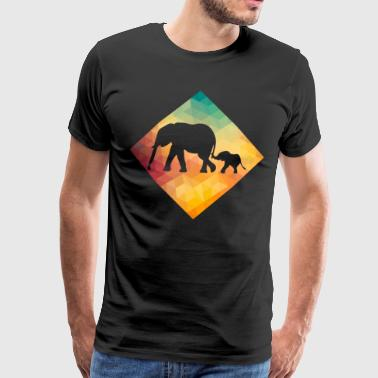 Elephant Lover Retro Vintage - Premium T-skjorte for menn