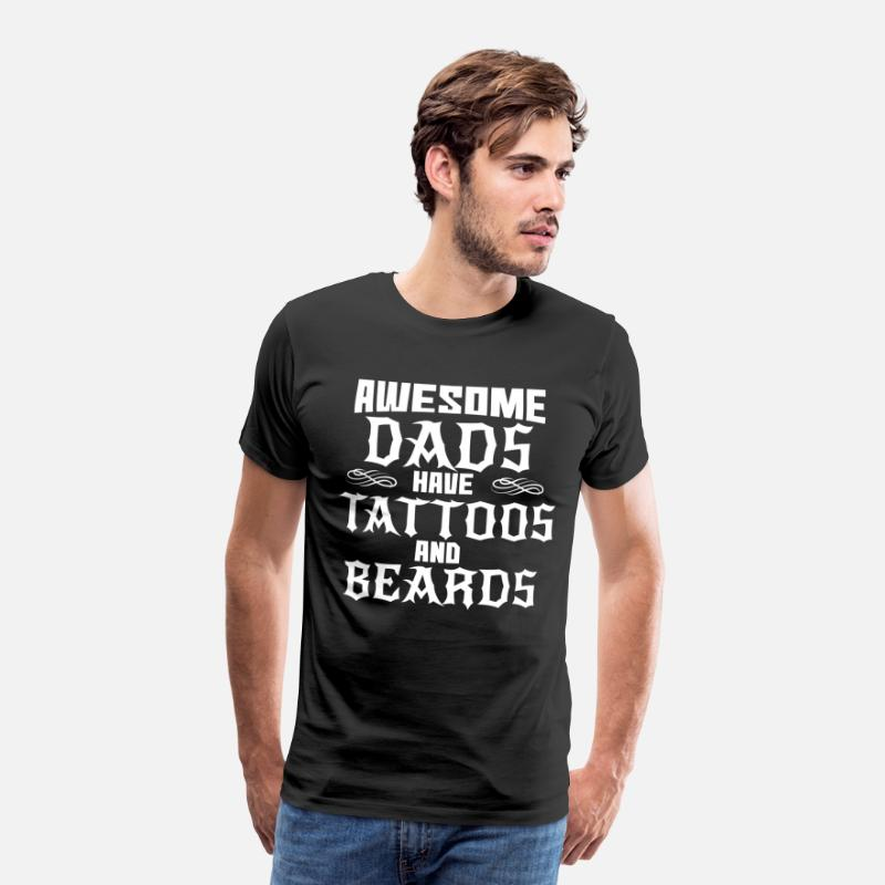 Vader T-Shirts - Dad Dad Tattoo Beard Dad's Father's Day Vader zoon zoon - Mannen premium T-shirt zwart