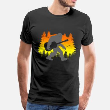 Sasquatch Bigfoot with guitar - Men's Premium T-Shirt