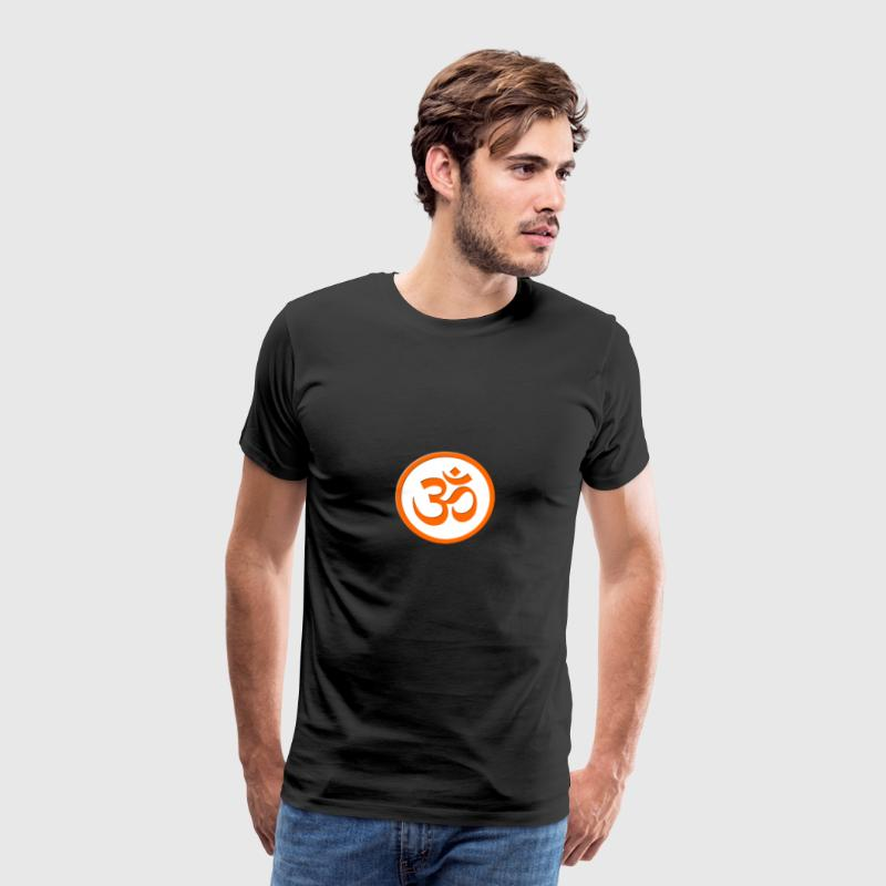 Om Symbol - Orange / White - Men's Premium T-Shirt