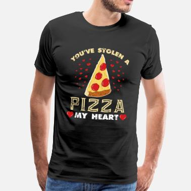 Heart Pizza heart Valentines day gift love couple - Men's Premium T-Shirt