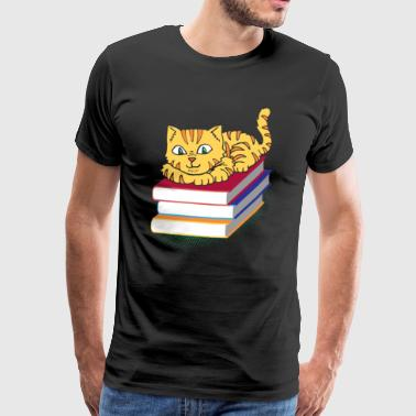 Bookworm bookworm book reading book kitten del gatto - Maglietta Premium da uomo