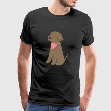 Labrador Chocolate Brown Bandana - Premium-T-shirt herr