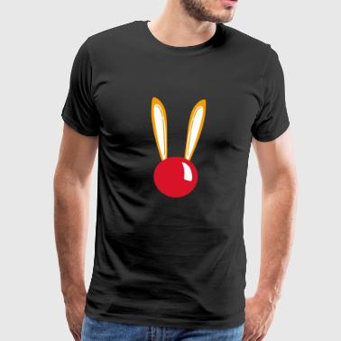 Red nose bunny with ears - Men's Premium T-Shirt