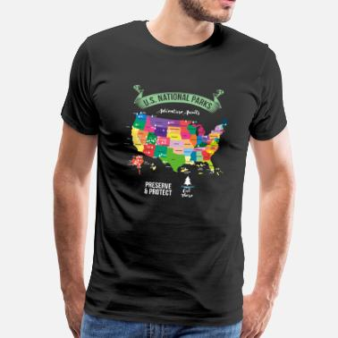 National Hiking US National Parks Map Protect - Men's Premium T-Shirt
